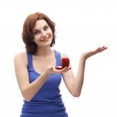 Woman  holding   wedding ring box — Stock Photo