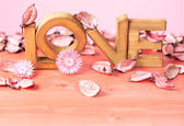 Love composition of wooden letters — Stock Photo