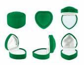 Heart shaped velvet boxes for the ring — Stock Photo