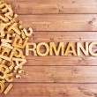 Word romance made with wooden letters — Stock Photo #71170963