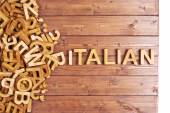 Word italian made with wooden letters — Stock Photo