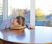 Boy sleeping over the book — Stock Photo