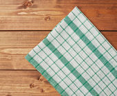 Towel over the wooden table — Stock Photo