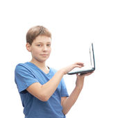 Young boy with a small notebook — Stock Photo