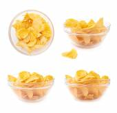 Multiple potato chips in a glass bowls — Stock Photo