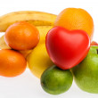 Ripe fruits with heart — Stock Photo #68770573