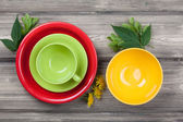 Empty plate, bowl and cup — Stock Photo