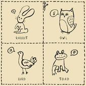 Doodles animals set — Stock Vector