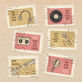 Retro music equipment stamps — Stock Vector