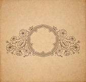 Sakura traditional ornate vignette on old parchment — Stock Vector