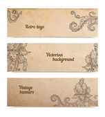 Victorian banners set, on parchment, transparent shadow — Stock Vector