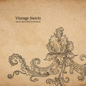 Vintage old paper texture with vector detailed art-nouveau decorative engraved floral ornament, hand drawn element — Stockvektor