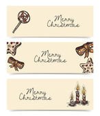 Christmas and New Year holidays banners in vintage style — Vector de stock