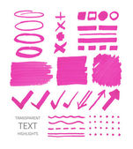 Set of highlighter marker spots and signs — Stock Vector