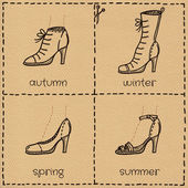 Woman shoes doodle set — Stock Vector