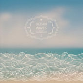 Sea landscape and sketch waves — Stock Vector