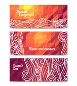 Geometric waves banners — Stock Vector