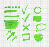 Transparent highlighter marks — Stock Vector