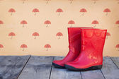 Red rubber boots — Stockfoto