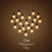 Balls lights arranged in a heart shape — Stock Vector