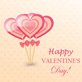 Happy Valentines Day Greeting Card with  heart-shaped lollipop — Stockvektor