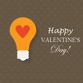 Light bulb with love heart — Stock Vector
