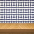 Empty wooden table over  vintage wallpaper — Stock Photo #73210691