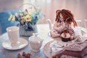 Pastel'nyy ainda vida servindo de chá. — Fotografia Stock