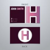 Plantilla de tarjeta de presentación, letra h — Vector de stock
