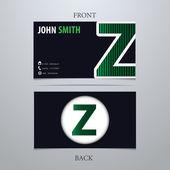 Business card template, letter Z — Vector de stock