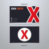 Business card template, letter X — Vector de stock