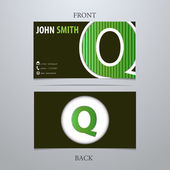 Business card template, letter Q — Vector de stock