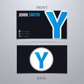 Business card template, letter Y — Vector de stock