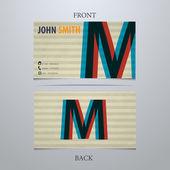 Business card template, letter M — Vector de stock