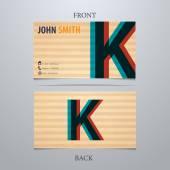 Business card template, letter K — Vector de stock