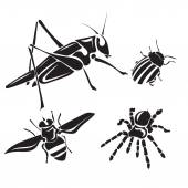 Insect collection - vector silhouette — Stock Vector