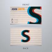 Business card template, letter S — Vector de stock