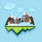 Vector flat style. Snowing Town Vector.  — Stock Vector