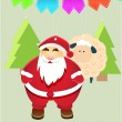 Vector New Year Illustration With Christmas Characters and tree. Toy Santa Claus, Sheep. Merry Christmas Label for Holiday Invitations and Greeting Cards. — Stock Vector #58893159