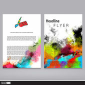 Vector Flyer Templates with Watercolor and Creative Icon. Abstract Background for Business Documents, Brochure and Placards. — Stock Vector