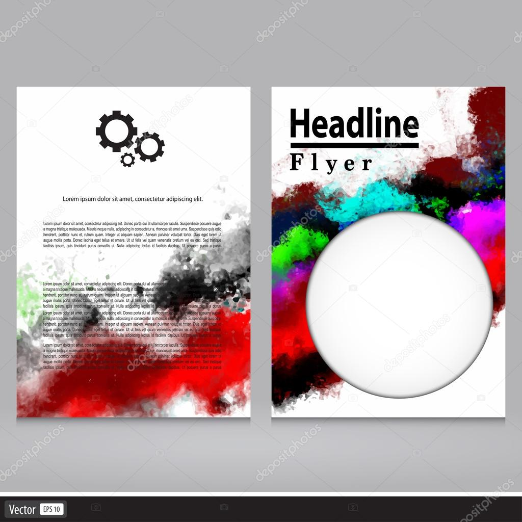 Vector poster templates with watercolor paint splash abstract