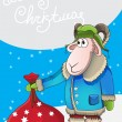 Xmas illustration cartoon sheep with bag gifts. New Year poster size A4. Beautiful nature background with Christmas trees. — Stock Vector #59327011