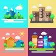 Colorful set of urban and rural landscapes. Creative flat design of nature and cities. The modern business concept. Vector collection. — Stock Vector #68843643