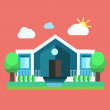 Colourful flat landscape. Creative design of a construction. Rural house. Trendy business concept. Vector illustration. — Cтоковый вектор #68843675