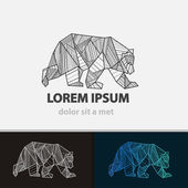 Creative stylized icon bear. Vector idea ferocious beast. Triangle shape with lines. — Stock Vector