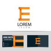 Vector logo design, letter E, business card template. — Stock Vector