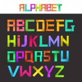 Colorful ribbon alphabet set. Creative concept. Vector illustration. — Stock Vector