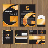 Metallic gold corporate identity. Trendy business concept with logo design template. Vector illustration. — Stock Vector