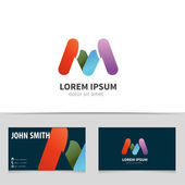 Letter M, logo design with business card template. Creative vector logotype for your company. — Stock Vector