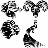 Peacock, lion's head, head of a goat,  Wolf's head — Stock Vector
